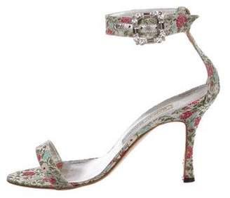 Manolo Blahnik Jacquard Ankle-Strap Sandals