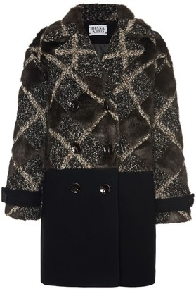 Diana Arno Sally Wool Jacket With Faux Fur In Brown