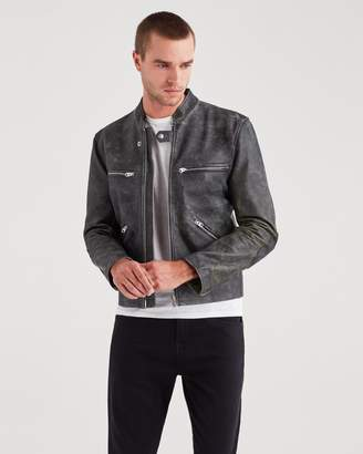 7 For All Mankind Cafe Racer Jacket in Black with Natural Ground