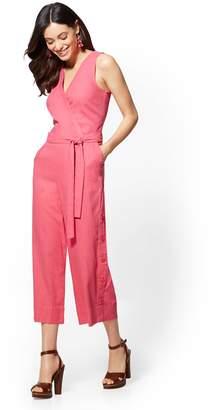 New York & Co. Pink Linen Culotte Wrap Jumpsuit