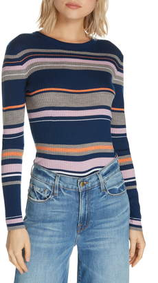 Frame Stripe Crewneck Merino Wool Blend Sweater