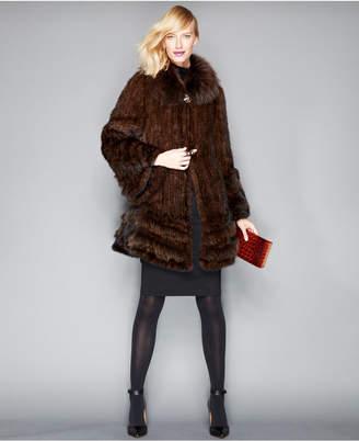 The Fur Vault Fox-Fur-Trimmed Mink Fur Swing Coat