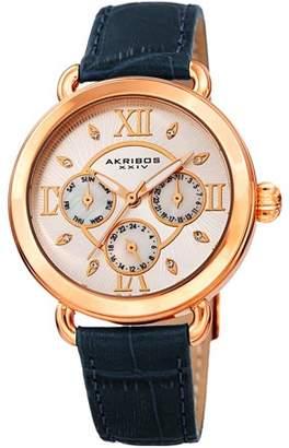 Akribos XXIV Rose Gold Tone Quartz Watch With Leather Strap [AK1043BU]