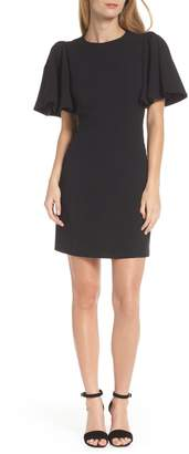 Eliza J Flutter Sleeve Crepe Sheath Dress