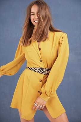 Nasty Gal Womens Every Mini Counts Shirt Dress - Yellow - 14, Yellow