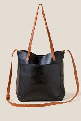 francesca's Rosie Soft Vegan Leather Tote in Black - Black