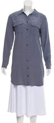 Equipment Print Long Sleeve Shirtdress