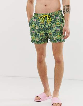 Le Breve two-piece tropical print swim shorts