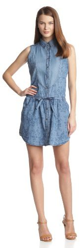 Levi's Women's Printed Belted Chambray Dress