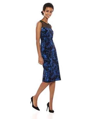 Calvin Klein Women's Sleeveless Velvet Sheath with Illusion Neckline