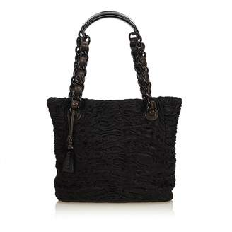 Chanel Vintage Black Fur Handbag