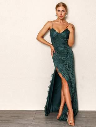 Shein Joyfunear High Split Open Back Bodice Lace Overlay Dress