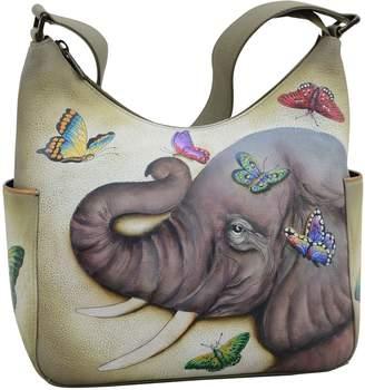 Anuschka Women's Classic Hobo Leather Hand Painted Shoulder Bag, Gentle Giant