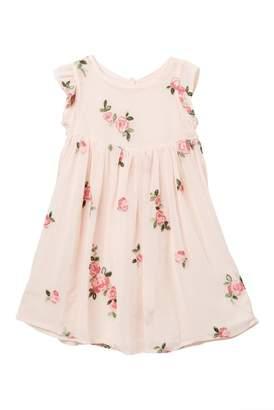 Pippa & Julie Embroidered Floral Flutter Sleeve Dress (Toddler & Little Girls)