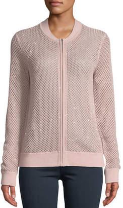 Neiman Marcus Cashmere Zip-Front Sequin Open-Weave Bomber Cardigan