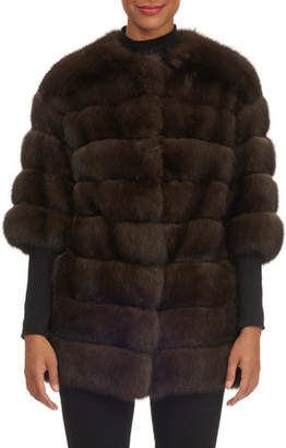 Gianfranco Ferre Crop-Sleeve Horizontal-Quilted Russian Sable Jacket