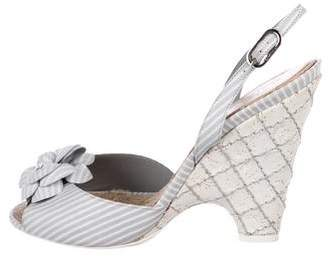 Chanel Camellia Striped Slingback Weedges