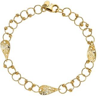 Italian Gold Beaded & Teardrop Shaped Link Bracelet, 14K 3.6g