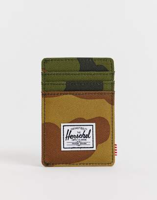 Herschel Raven RFID card holder in camo print