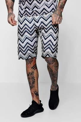 boohoo Aztec Mid Length Mesh Shorts