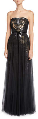 Marchesa Sequin & Tulle Pleated Strapless Gown
