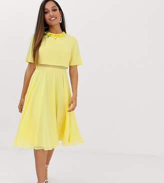 Asos Design DESIGN Petite 3D embellished crop top midi dress