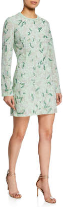 J. Mendel Long-Sleeve Embroidered Mini Dress