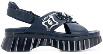 Tory Burch embellished cross strap sandals