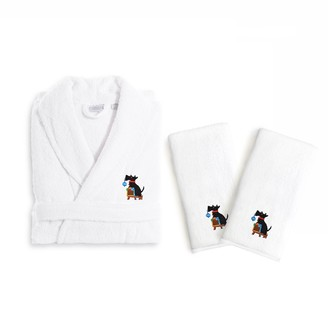 Linum Home Textiles Holiday Embroidered Luxury Hand Towel & Bathrobe Set