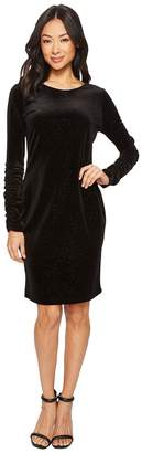 Vince Camuto Ruched Long Sleeve Sparkle Velvet Dress Women's Dress