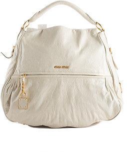 Miu MiuMiu Miu Ivory Leather Two Way Convertible Shoulder Handbag BP4761MIU MHL