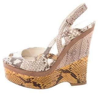 Gucci Python Wedge Sandals