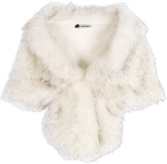 KOERIM Women's Faux Fur Shawl Bridal Wedding Shrug Wrap Evening Party Fur Stole