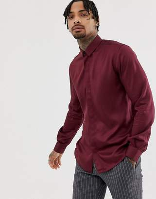 Twisted Tailor super skinny shirt in burgundy