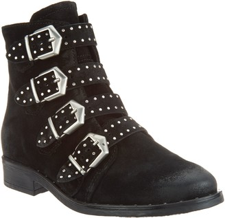 Miz Mooz Leather Buckle Ankle Boots - Edgy