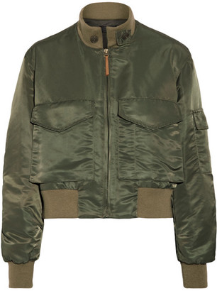 Mcguire Satin-twill Bomber Jacket - Army green