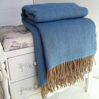 Marquis & Dawe Blue And Wheat Herringbone Wool Throw