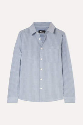 A.P.C. Striped Cotton-poplin Shirt - Light blue