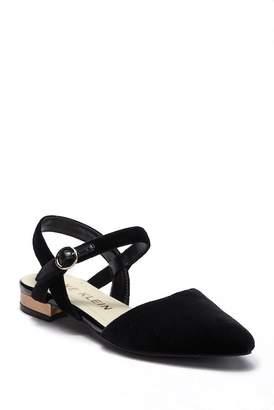 Anne Klein Odell Velvet Ankle Strap Flat