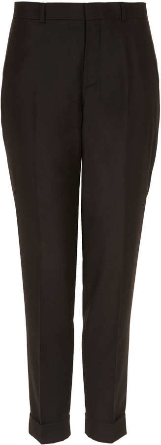 Topshop Tailored mensy turn-up cigarette trouser, co-ords to tailored blazer. 80% polyester,20% viscose. wash with similar colours. as part of the £100 suit co-ord