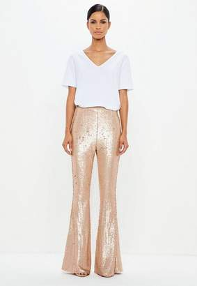 Missguided Gold Matte Sequin Flared Pants