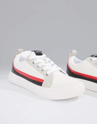 Calvin Klein white Dodie trainers with suede stripes
