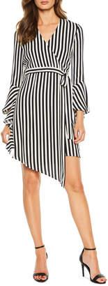Bardot Striped Tie-Front Wrap Dress