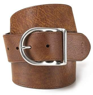 Ralph Lauren Distressed Leather Belt with Dull Nickle Centerbar Buckle