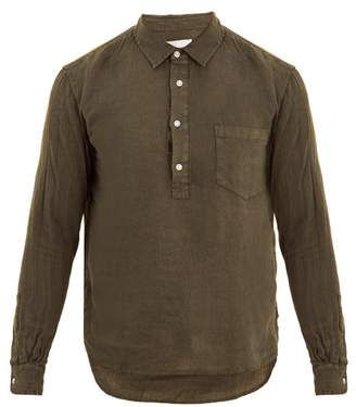 Solid & Striped Popover Half Button Linen Shirt - Mens - Green