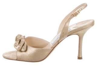 Jimmy Choo Metallic Suede Slingback Sandals