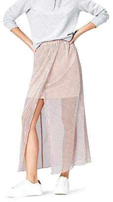 find. Women's Skirt with Metallic Sheer Overlay Pleated and Hippie Style,8 (Manufacturer size: X-Small)