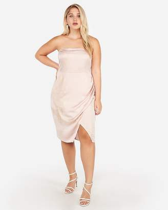 Express Shimmering Side Slit Strapless Dress