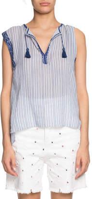 710324fd510414 Etoile Isabel Marant Juditha Striped Embroidered Sleeveless Top