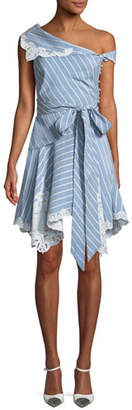 Jonathan Simkhai One-Shoulder Striped Mini Wrap Dress w/ Cutout Embroidery
